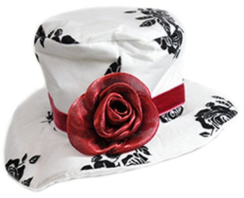 Women's Deluxe White Paisley Mini Top Hat With Red -