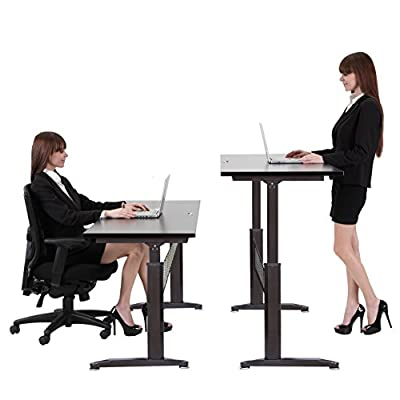 "55"" Height Adjustable Crank Standing Desk Stand Up Desk by Hans&Alice"