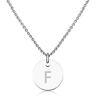 Good.Designs ® Collar Inicial para Mujeres (Colgante Inicial) Cadena de Mujer de Plata (Colgante de Letras Redondas)