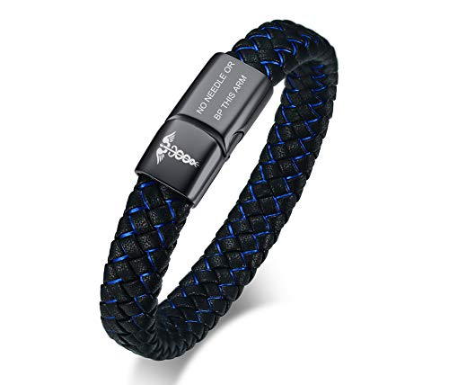Needle Mens - VNOX Elegant Medical Caduceus NO Needle OR BP This ARM Blue&Black Braided Leather Black Magnetic Cuff Wristband
