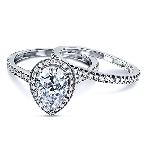 Near-Colorless (F-G) Pear Shape Moissanite and Diamond Halo Bridal Set 2 3/5 CTW in 14k White Gold, Size 6