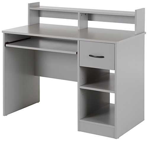 Corner Hutch Collection (South Shore Axess Desk with Keyboard Tray, Soft Gray)