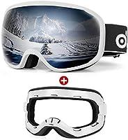 Odoland Ski Goggles Set with Detachable Sponge, Anti-Fog 100% UV Protection Snow Goggles for Men and Women, He