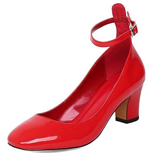 Nine Seven Cuero Puntera Cuadrada Tacones de Vestir de Tacón Grueso con la Hebilla para Mujer Rojo