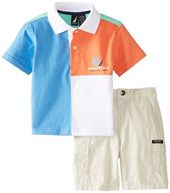 Nautica Baby Boys' 2 Piece Stripe Polo and Solid Short Set, Wave Runner, 18 Months
