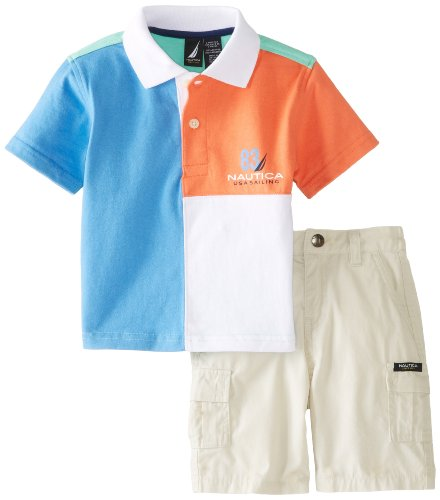 Nautica Baby-Boys Infant 2 Piece Stripe Polo and Solid Short Set