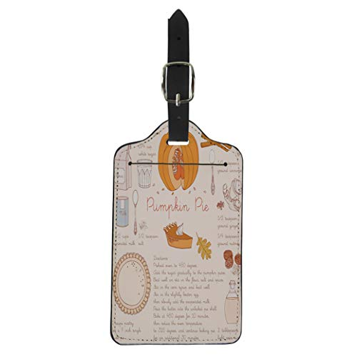 Pinbeam Luggage Tag Fall Pumpkin Pie Recipe Thanksgiving Day Autumn Slice Suitcase Baggage Label