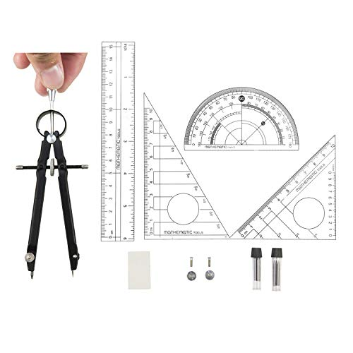 Bow Compass Set - Professional Compass with Lock, Muhuyi Precision Spring Bow Compass and Protractor Set for Geometry Math Drafting