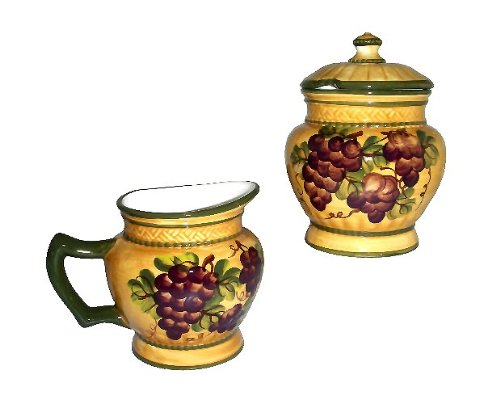 SUGAR & CREAMER SET TUSCANY GRAPE WINE DECOR