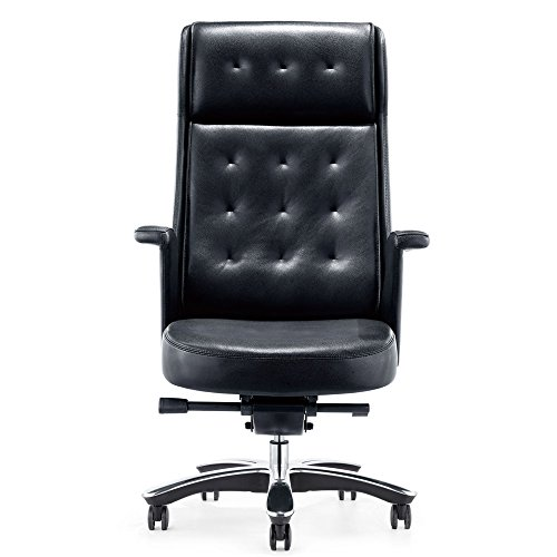 Rockefeller Genuine Leather Aluminum Base High Back Executive Chair – Black