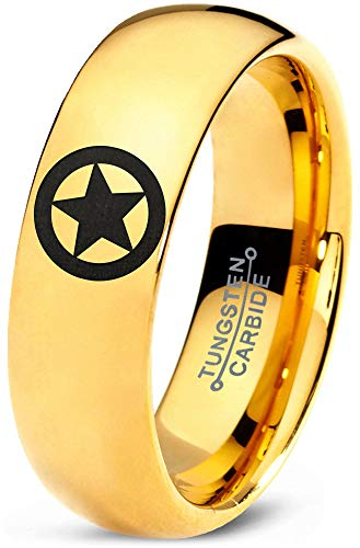 Zealot Jewelry Tungsten Astronomical Star Circle Emblem Band Ring 7mm Men Women Comfort Fit 18k Yellow Gold Dome Polished Size 9