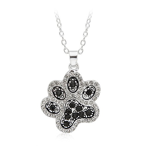 - Meiligo Retro you left paw prints on my heart letter Pet Dog paw Charm Tag Necklace Owner and Dog Jewelry matching Pet Collar Necklace Pendant (Diamond Paw)