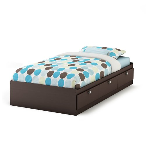 """South Shore Furniture, Cakao Collection, Twin Mates Bed 39"""", Chocolate"""