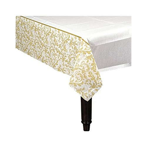 Gold Elegant Scroll Paper Table Cover - 54x102 (Scroll Birthday)