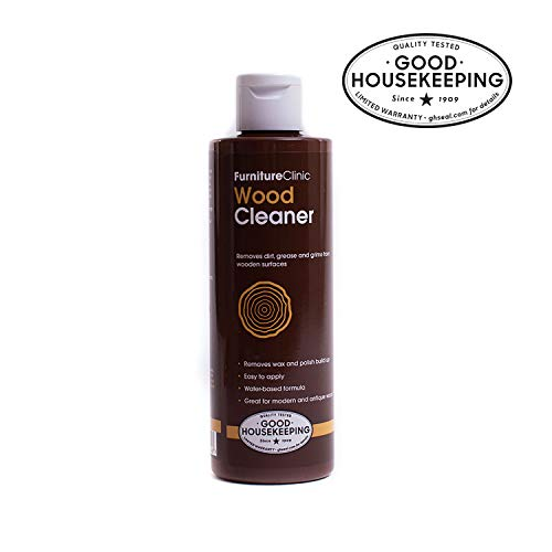 Furniture Clinic Wood Cleaner (8.5 oz, 250ml) | Restore & Spot Clean Hardwood Flooring, Blinds, Doors, Decking and Many other Wood Surfaces - Easily Remove Wax & Polish Build up, Grease and Grime