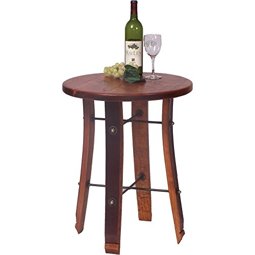2 Day Designs Reclaimed Wine2Night Round Stave End Table (Barrel Stave Furniture)