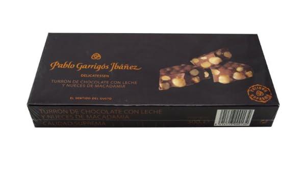 Pablo Garrigós Ibáñez Barra de Turrón de Chocolate con Leche y Nueces de Macadamia - 300 gr: Amazon.es: Alimentación y bebidas