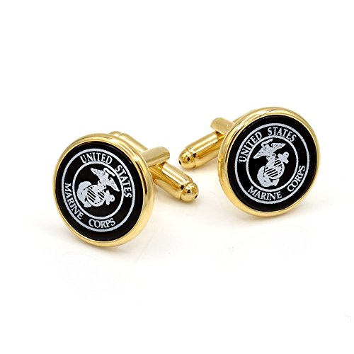 JJ Weston Marine Corps Emblem Engraved on Onyx Cufflinks. Made in the USA. - Engraved Onyx Cufflinks