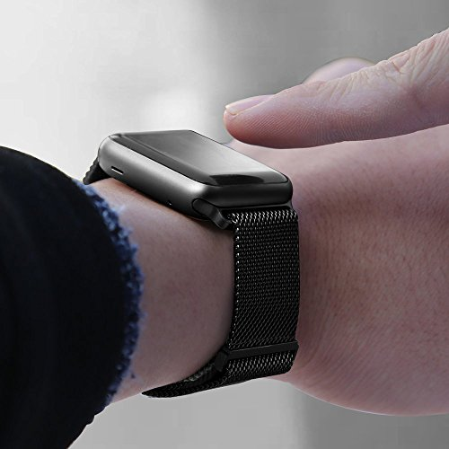 BRG Compatible Apple Watch Band 38mm, Stainless Steel Mesh Milanese Loop Adjustable Magnetic Closure Replacement iWatch Band Compatible Apple Watch Series 3 2 1 (38mm Black) by BRG (Image #3)