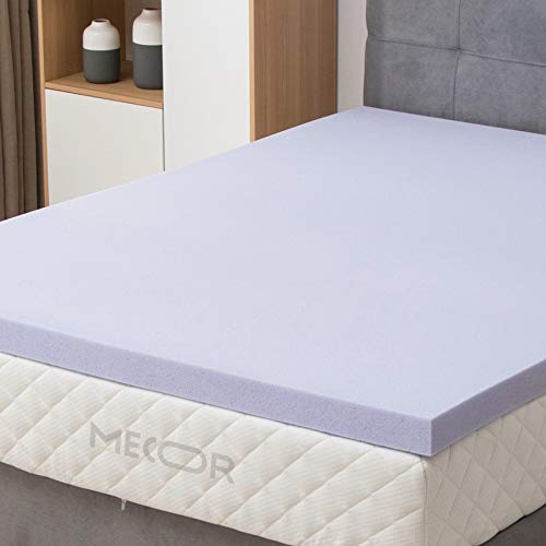 Mecor 4' 4 inch Queen Size Gel Infused Memory Foam Mattress Topper-Flat Design Bed Mattress Topper W/CertiPUR-US Certified Foam for Side, Back, Stomach Sleepers-Purple