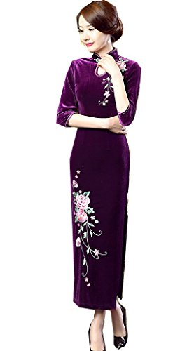 5ca58fd79 Shanghai Story Peacock Floral Embroidery Velvet Long Cheongsam Qipao Dress  2 Pu