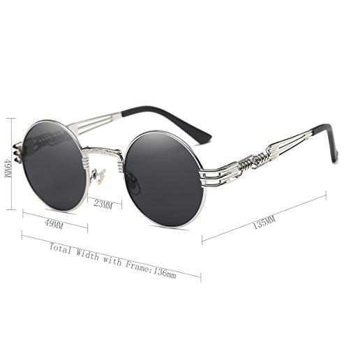 64188febe4 Dollger John Lennon Round Sunglasses Steampunk Metal Classic Frame Mirror  Lens(C1 Black Lens+