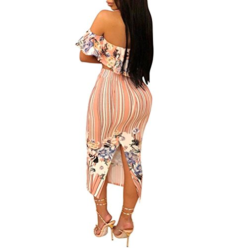 Minisoya Women Floral Strapless Ruffle Bandeau Crop Tops Striped Bodycon Maxi Skirt Cocktail Party Club Two Piece Set (Pink, XX-Large) by Minisoya (Image #2)