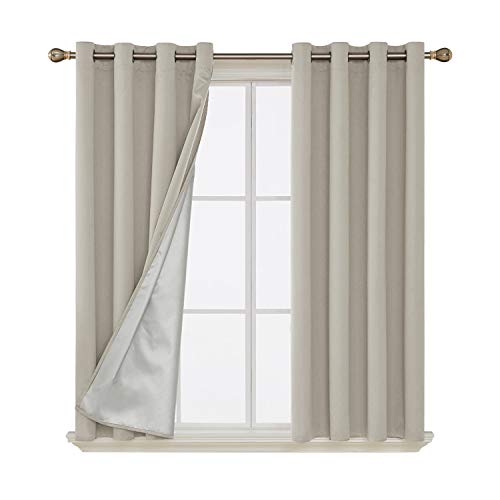 Deconovo Grommet Blackout Curtains Thermal Insulated Light Blocking Drapes with Silver Coated Back for Dining Room 52W x 63L Inch Light Beige 2 Panels (Light Blocking Curtains Beige)