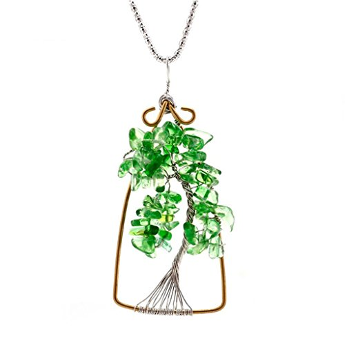 [Creative Natural Crysal Tree Of Life Pendant Necklace Handmade Necklace] (Zora Link Costume)