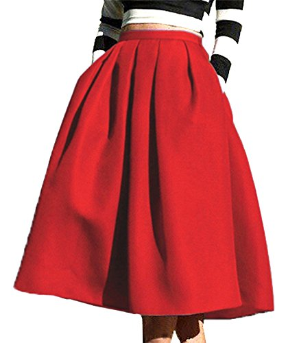 (FACE N FACE Women's High Waisted A line Street Skirt Skater Pleated Full Midi Skirt Large Red)
