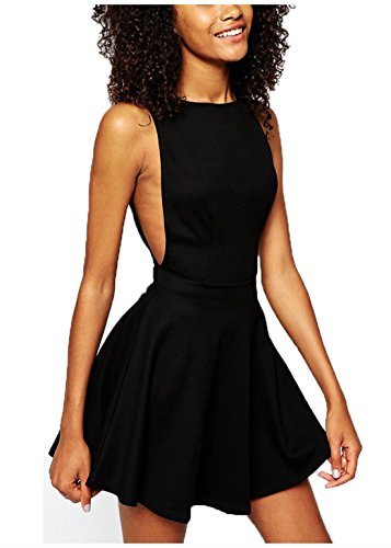 Wink Gal women's Sexy Backless Round Neck Sleeveless Casual Dress Colour Black Size S