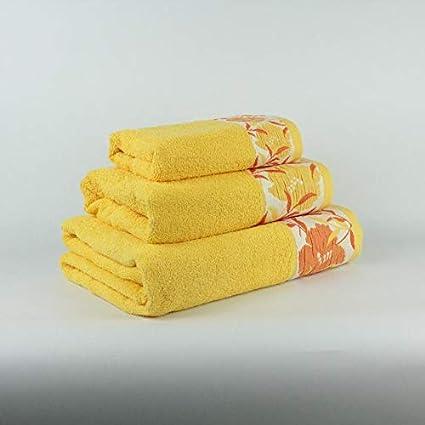 100/% ALGOD/ÓN Flores Color Beige Coloquial Juego DE 3 Toallas BA/ÑO, Lavabo Y TOCADOR