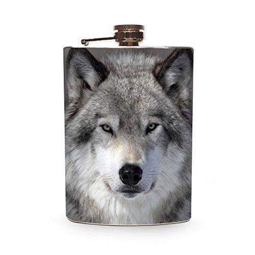 Wolf Flask 8oz Stainless Steel Hip Flasks Spirits Alcohol Whiskey Liquor Gin Vodka Wedding Flasks Wild Wolves - Spirit Flask
