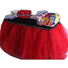 Wennikids Handmade Tutu Tulle Table Skirt Cover for Girl Princess Birthday Party, Baby Shower, Slumber Party & Home Decoration-Beautiful 1yard(91cm length)/79cm height Red