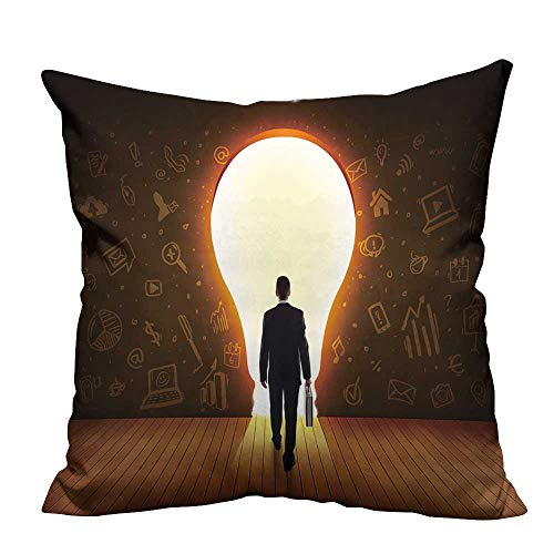 YouXianHome Decorative Throw Pillow Case Business Man Looking at Bright Light Bulb in The Wall Concept Ideal Decoration(Double-Sided Printing) 24x24 ()