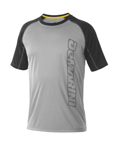 (DeMarini Men's Yard-Work Vertical Wordmark Training T-Shirt, Grey/Black, Medium)