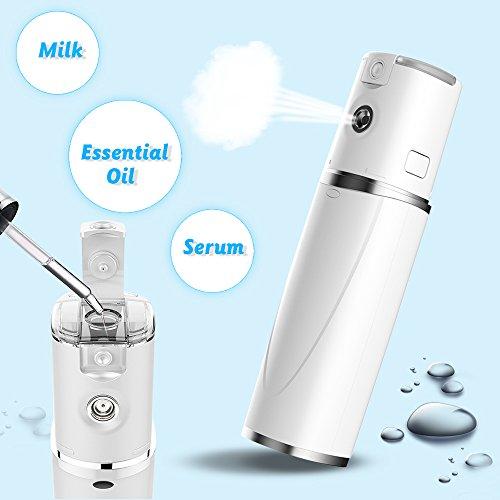 Portable Nano Facial Steamer Mckbane Handy Nano Sprayer Dry & Oil Skin Promote Facial Absorption Moisturizing & Hydrating Water SPA Skin Care Device USB Rechargeable-white
