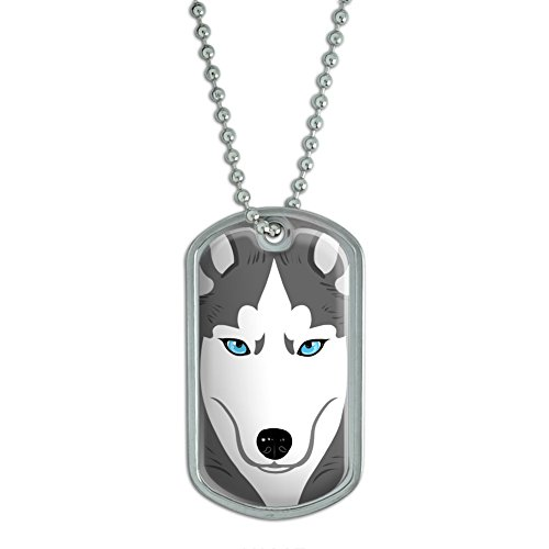 Siberian Husky Full Military Keychain