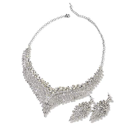 Wedding Bridal Crystal Earrings and Statement Bib Necklace Jewelry Set for Women 20