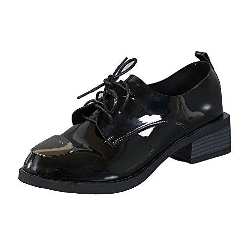 GTVERNH Mitte Der Ferse Ferse Ferse Ferse Schnürsenkel Damenschuhe Moderne Komfortable 4Cm Lack Tiefe Mund Ein Schuh. schwarz b39397