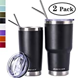 Zonegrace Black 20oz and 30oz Insulated Tumblers with Lid & Gift Box | Stainless Steel Coffee Cup | Double Wall Vacuum Insulated Travel Coffee Mug with Splash Proof slid lid