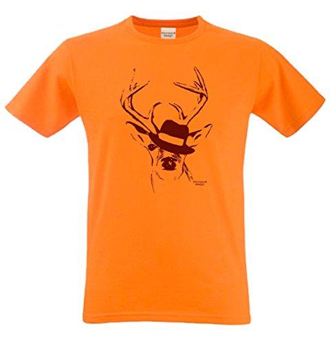 Wiesn T-Shirt statt Tracht & Dirndl - Hirsch mit Hut - Lustiges Spruchshirt als Geschenk zum Oktoberfest & Volksfest rt4