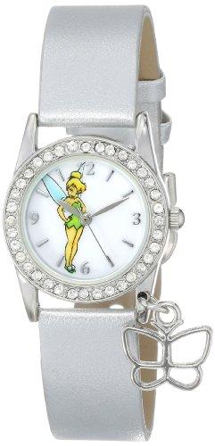 Disney Women's TK1032 Tinkerbell White Dial Silver Metallic Strap Watch ()