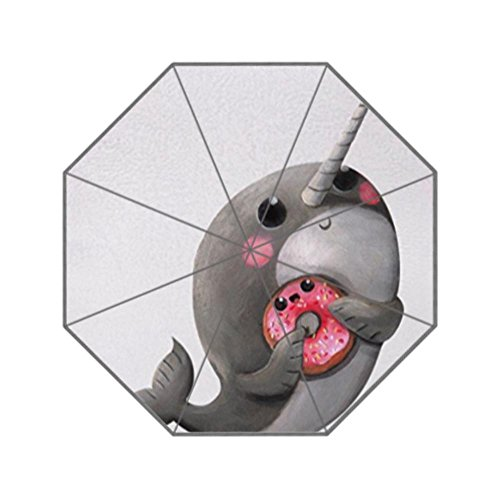 LiFei Business Cute Narwhal with Donut Custom Umbrella by LiFei Business