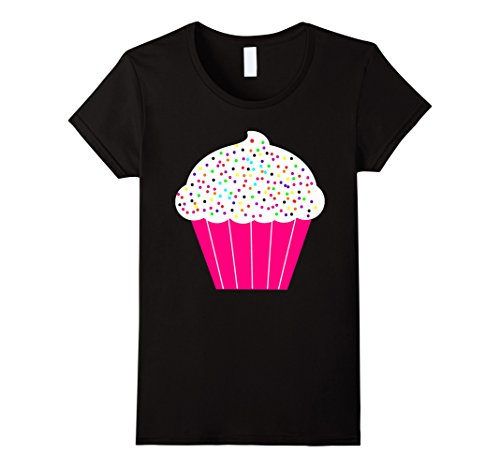 Womens Cupcake Costume (Womens Cupcake Fun Food Costume T-Shirt White Frosting Sprinkles Large Black)
