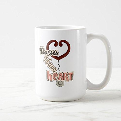 Zazzle Stethoscope Nurses Have Heart T-shirts and Gifts Two-tone Coffee Mug, White Classic Mug 15 oz (Mug White Coffee Classic)