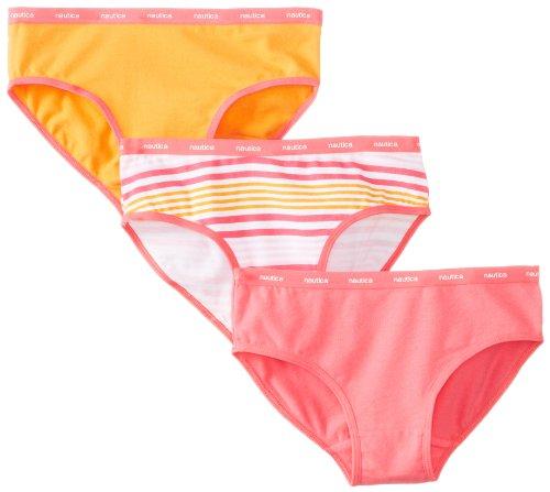 Nautica Big Girls'  3 Pack Solid and Multi Stripe Bikini, Assorted, Small