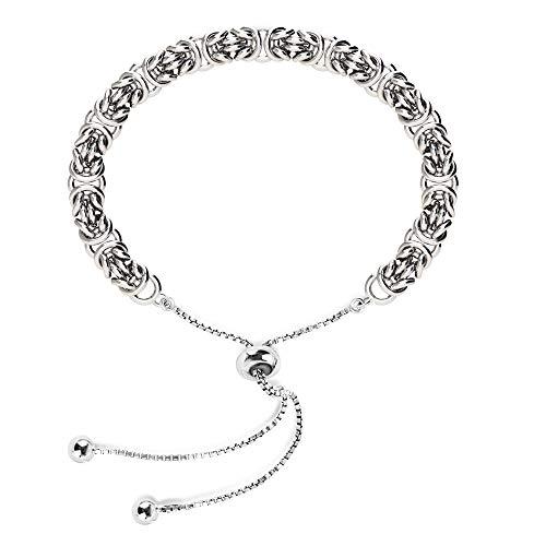 LeCalla Sterling Silver Jewelry Sliding Bolo Byzantine Bracelet for Women