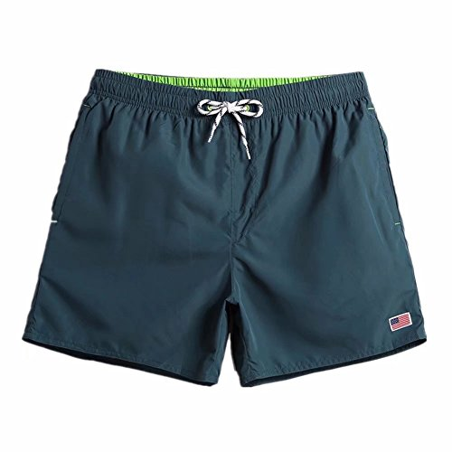 M-Trunkshu Mens Quick Dry Blackish Green Short Swim Trunks Striped Water Shorts With Mesh Lining Long XXL (Mesh Striped Shorts Basketball)