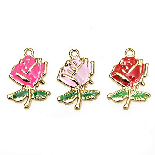 Monrocco 30Pcs Rose Flower Charm Pendant Enamel Flower Charms for Jewelry Making Bracelet Necklace and ()